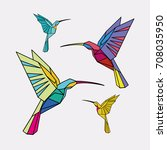 hummingbirds. a set of colorful ... | Shutterstock . vector #708035950