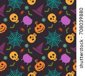 halloween seamless pattern.... | Shutterstock . vector #708039880