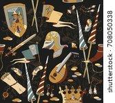 medieval seamless pattern ... | Shutterstock .eps vector #708050338
