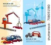 car recycling banner. car scrap ... | Shutterstock .eps vector #708051580