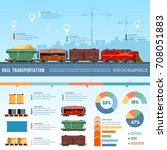 freight trains wagons flat... | Shutterstock .eps vector #708051883