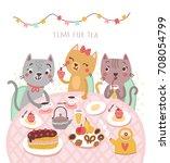 Stock vector cute cats illustration tea time 708054799