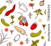 seamless pattern with tomatoes  ... | Shutterstock . vector #708056614