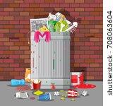 steel garbage bin full of trash.... | Shutterstock .eps vector #708063604