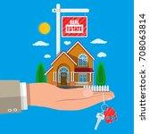 suburban family house set in... | Shutterstock .eps vector #708063814