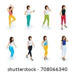 trendy isometric people set. 3d ...   Shutterstock .eps vector #708066340
