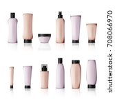 realistic cosmetic bottles on... | Shutterstock .eps vector #708066970