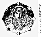woman astronaut tattoo art.... | Shutterstock .eps vector #708067558