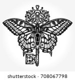 butterfly and key tattoo art.... | Shutterstock .eps vector #708067798