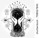 space hourglasses tattoo and t... | Shutterstock .eps vector #708067840