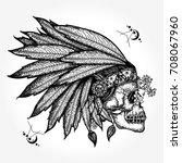 indian skull tattoo art.... | Shutterstock .eps vector #708067960