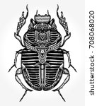 scarab tattoo  ancient egypt... | Shutterstock .eps vector #708068020