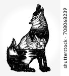 wolf double exposure tattoo and ... | Shutterstock .eps vector #708068239