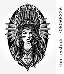 native american woman tattoo... | Shutterstock .eps vector #708068326