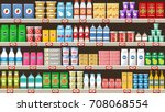 supermarket  shelves with... | Shutterstock .eps vector #708068554