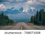 driving towards glenallen on... | Shutterstock . vector #708071008