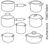 vector set of pot | Shutterstock .eps vector #708076864