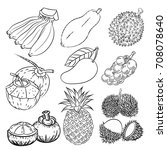 hand drawn set of different... | Shutterstock .eps vector #708078640