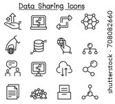 data sharing icon set in thin... | Shutterstock .eps vector #708082660
