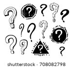 set of question marks. hand... | Shutterstock .eps vector #708082798