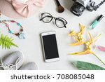 woman stuff  makeup  cellphone...   Shutterstock . vector #708085048
