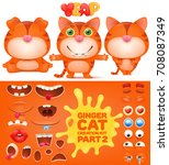creation kit of ginger emoticon ...   Shutterstock .eps vector #708087349