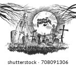 scary graveyard   halloween... | Shutterstock .eps vector #708091306