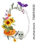 halloween vertical round frame  ... | Shutterstock .eps vector #708092830