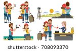 couple travel relaxing on top... | Shutterstock .eps vector #708093370