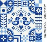 cute pattern in danish folklore ...   Shutterstock .eps vector #708094699