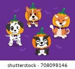 vector cartoon happy halloween... | Shutterstock .eps vector #708098146
