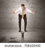 huge angry business guy looking ... | Shutterstock . vector #708105430