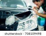 specialist install car paint... | Shutterstock . vector #708109498