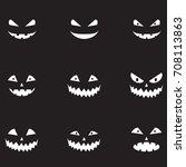 scary halloween pumpkin faces... | Shutterstock .eps vector #708113863