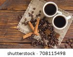 cup of coffee with cinnamon and ...   Shutterstock . vector #708115498