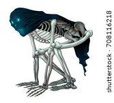 skeleton monster with veil on... | Shutterstock .eps vector #708116218