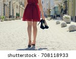 woman in elegant red dress...   Shutterstock . vector #708118933