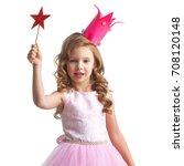 little fairy girl in pink dress ... | Shutterstock . vector #708120148