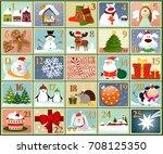 advent calendar   set of winter ...   Shutterstock .eps vector #708125350