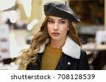 blonde russian woman in urban... | Shutterstock . vector #708128539