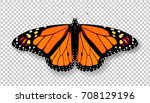 Stock vector realistic d monarch butterfly colorful bright detailed mesh vector illustration with shadow on 708129196