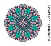 flower mandalas. vintage... | Shutterstock .eps vector #708129259