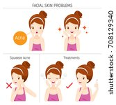 girl with acne  facial skin... | Shutterstock .eps vector #708129340