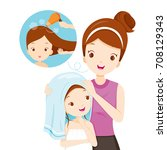 mother rub daughter hair with...   Shutterstock .eps vector #708129343