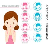 girl with facial skin problems...   Shutterstock .eps vector #708129379