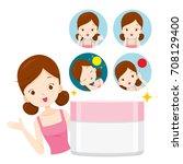 girl with moisturizer packaging ...   Shutterstock .eps vector #708129400
