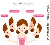 girl with facial skin problems  ...   Shutterstock .eps vector #708129403