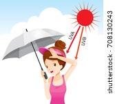 girl holding umbrella unhappy...   Shutterstock .eps vector #708130243