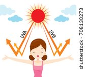 girl happy with sun light ... | Shutterstock .eps vector #708130273