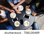 top view of hands with coffee... | Shutterstock . vector #708130489